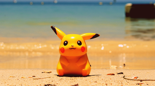 Pikachu on a beach. Look out, South Coast!