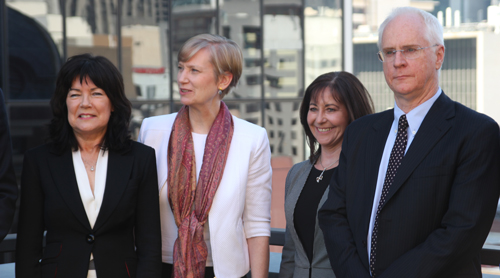 Our Watch CEO Mary Barry, Fiona Richardson MP, Connections UnitingCare Acting CEO Trish Chapman and La Trobe University Vice-Chancellor Prof Keith Nugent.