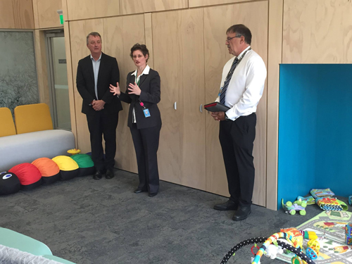 Minister for Mental Health Martin Foley, Mother and Baby service manager Rose McCrohan and UnitingCare ReGen CEO Laurence Alvis.