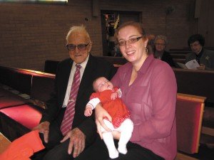 From oldest to youngest - Alf Popple, with Elise Honey and baby Amelia Dobson (daughter of Mike and Kat Dobson and grandchild of ex-moderator, Isabel Thomas Dobson).