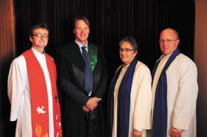 Rev Will Nicholas, Principal Andy Müller, ex-Moderator Isabel Thomas Dobson and Rev Graham Bartley