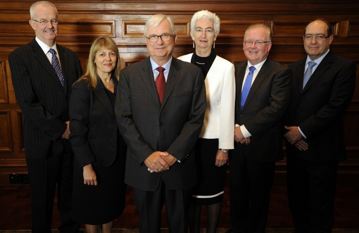 ( Left to Right ) Commissioner Bob Atkinson APM, Helen Milroy, Justice Peter McClellan AM, Justice Jennifer Coate, Robert Fitzgerald and Andrew Murray . Royal Commission into Institutional Responses to Child Sexual Abuse