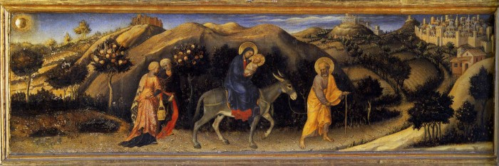 Adoration of the Magi Altarpiece, left hand predella panel depicting Rest during The Flight into Egypt.