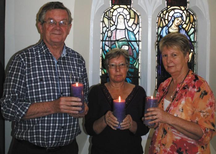 Preparing for Pilgrim Uniting Church's annual Blue Christmas service are (from left):  Revd Tony Duncan, Sue Horrocks and Jenny Duncan