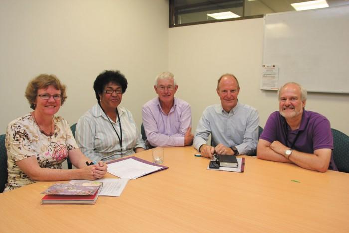 Kirsty Bennett, Lavingi Tupou, John Diprose, Alistair Macrae, Trevor Bassett.   Absent from the photo is Anna Harrison.