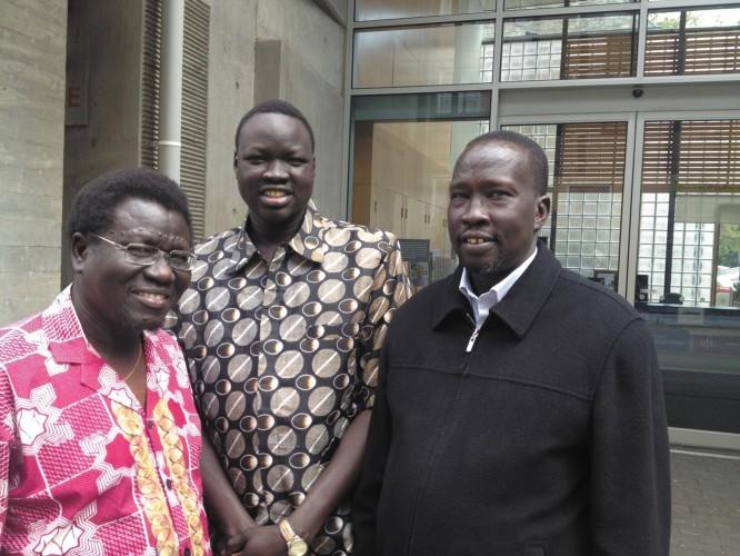 (L- R) Paulo Kwajakwan, Paul Aleu Dau and Nathaniel Atem