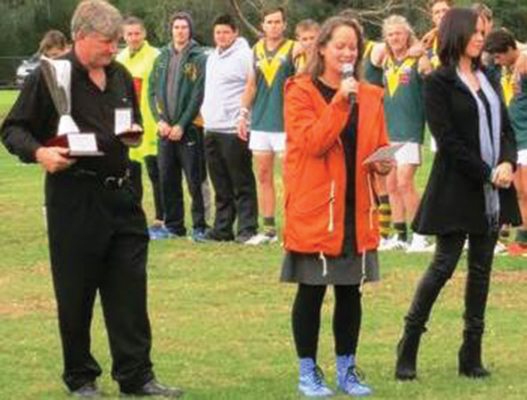 Aussie-rules gay pride game. Jennie Gordon (centre) delivered a reflection before the Gay Pride match in Yarra Glen last month.