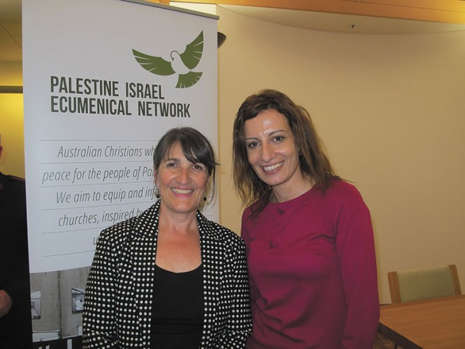 Co-convenor of the Parliamentary Friends of Palestine, Maria Vamvakinou with speaker Arda Arghazharian