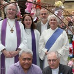 """Uniting Church representatives attending the launch """"Free the children"""" art installation in Melbourne."""