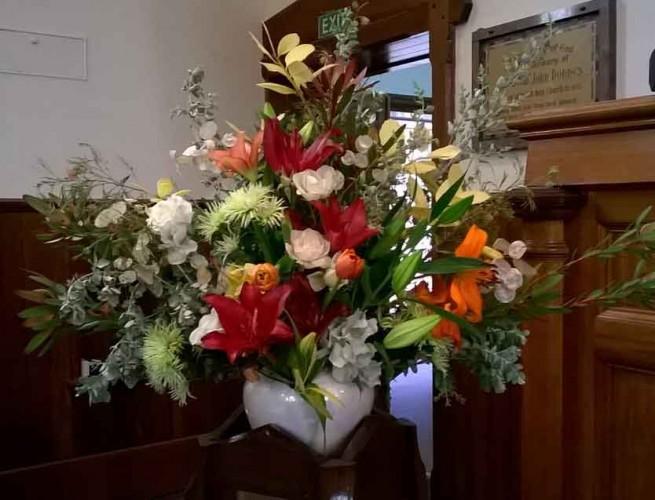 Flower arrangement at Benalla Uniting Church
