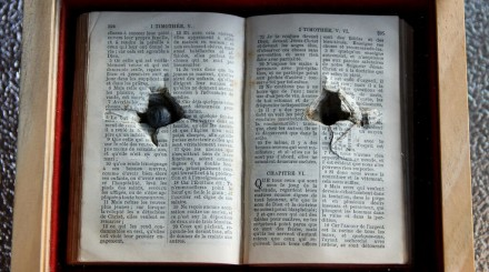 shrapnel in a bible