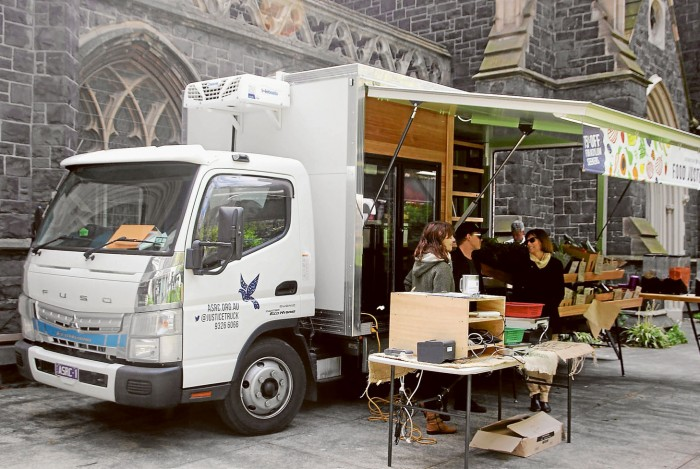 Food Justice Truck outside Wesley Uniting Church