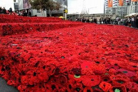 Federation Square transformed into a sea of poppies earlier this year to commemorate Anzac Day.