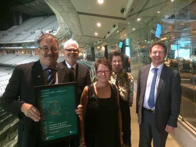 ReGen representatives with the award (L-R): CEO Laurence Alvis, Programs Director Trevor King, Clinical Services Director Donna Ribton-Turner, Adult Residential Withdrawal Manager Rose McCrohan & Board Chair Sandy Ross.