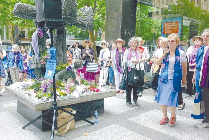 grandmothers protest in the Melbourne CBD