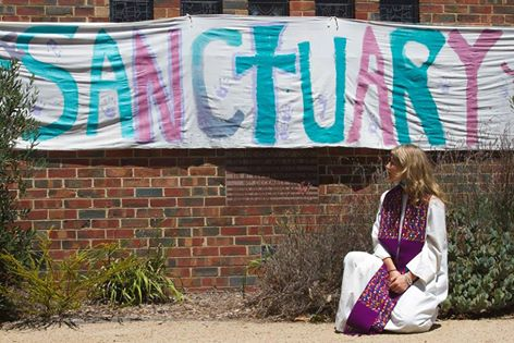 Rev Alex Sangster outside St Andrew's Uniting Church, Fairfield.