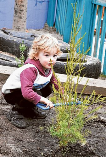 Scots Early Learning Centre attendee Lewis helps out as part of National Tree Day