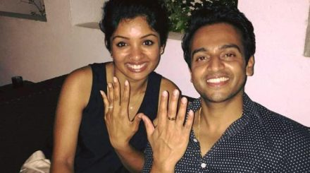 Sivanjana and Dilan in Jaffna with their new engagement rings