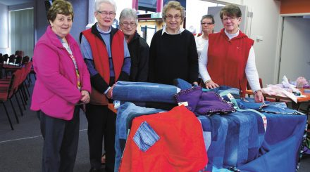Members from left Elaine Martin, Claire Green, Margaret Ranson, Margaret Hoey, Elaine Holman, Jan McGrath with some of their blankets.