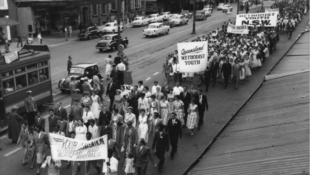 Street march as part of NCYC 1957 in Adelaide