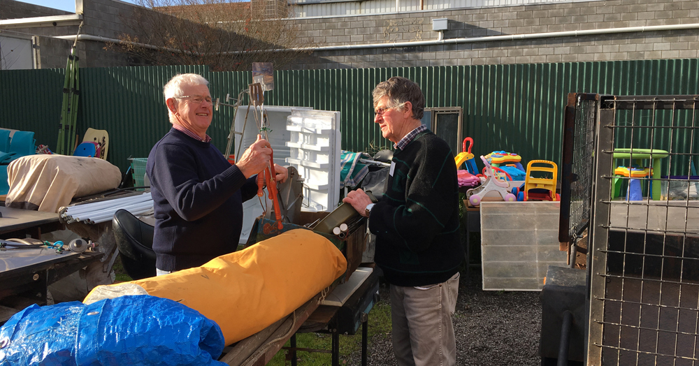 John Diprose with op shop coordinator, Ash Binney in the backyard of the Argyle Shop Shop