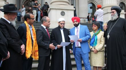 Left to right: Bishop Peter Danaher (VCC President), Rabbi Shimon Cowen (Rabbinic Council of Victoria), Makarand BhagwattiHindu (Council of Victoria President), Deputy Premier James Merlino, Sheik Majidih Essa (Islamic Council of Victoria), Kawalpreet Singh (Sikh Council of Victoria), Peggy Page   (Buddhist Council of Victoria), Bishop Suriel Anbu (Coptic Church of Melbourne and Victoria)