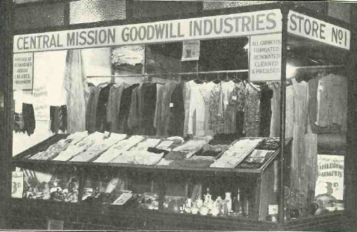 Goodwill Industries 1933 to WW2 -established with anonymous 5000 pound donation -recycled food clothes and hhouse items