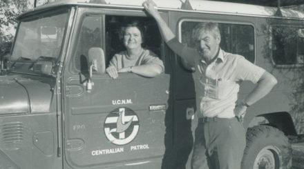 Rev George & Mrs Joan Buckle, Centralian Patrol Padre based at Alice Springs 1986