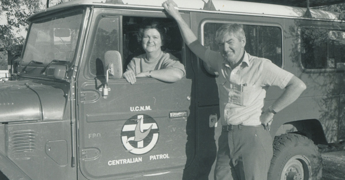 Rev George & Mrs Joan Buckle, Centralian Patrol Padre based at Alice Springs 1986