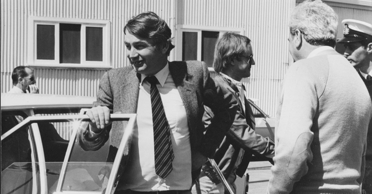 This 1985 photo shows Rev Brian Howe at the Williamstown dockyards during the time he served as deputy prime minister in the Hawke Labor goverment