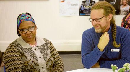 Jacky Magessa and Brunswick UC minister Rev Ian Ferguson