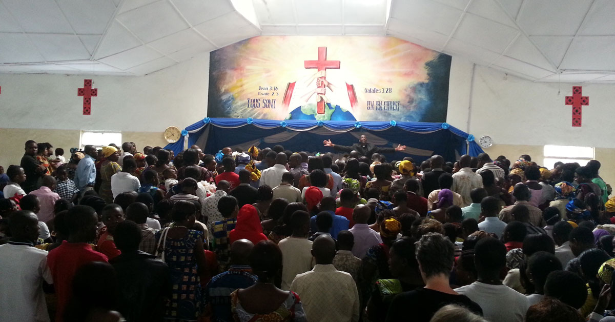 Baptist Sunday morning worship service in Goma.