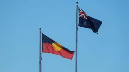 indigenous and Australian flags
