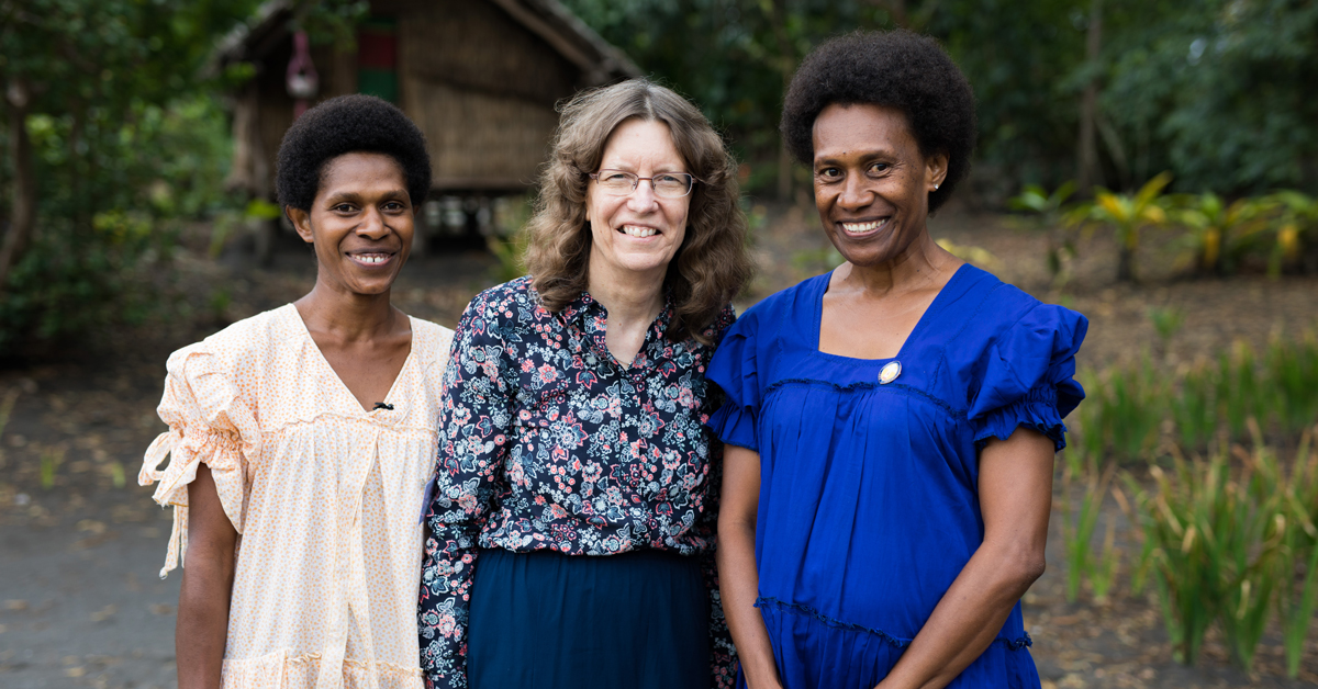Dr Deidre Palmer with women leaders Martha and Sophie at the Vanuatu National Assembly