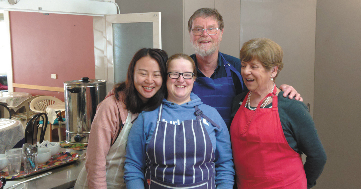 Volunteers Alice, Heather, Adge in the Nobucks kitchen with Suzanne Vincent (right)