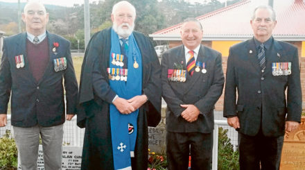 Ken Clark, Jim Colville, Tony Bisdee and Bill Tewson at the Anzac Day dawn service